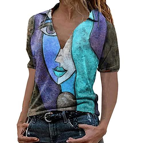 Verano Retrato Estampado Cuello En V Manga Corta Top Mujer Casual Suelta Moda Gran TamañO Camiseta