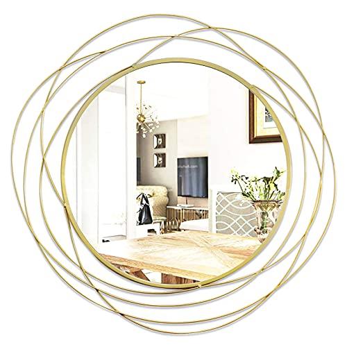 Ironsmithn - Specchio da parete rotondo decorativo per bagno, soggiorno o camera da letto, 68 x 68 cm
