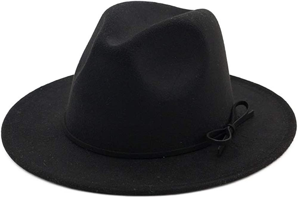 L.W.SUSL Men Women Fedora Hat with Bowknot Wide Brim Hat Ladies Winter Hat Size 56-58CM