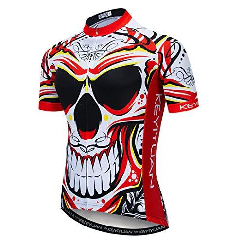 Ciclismo Jersey Skull Hombres Equipo Camisa de Bicicleta Verano Seco rápido MTB Bike Jersey Road Ciclismo Ropa Uniforme Tops Model 3 M
