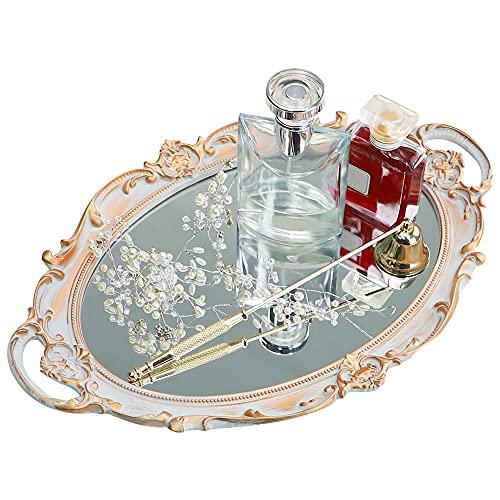 Moamun - Bandeja de espejo decorativa, bandeja ovalada vintage para perfumes, maquillaje, joyas, cosméticos, bandeja de servicio para dressing, dormitorio, salón, gris dorado