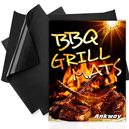 """Ankway Non Stick Grilling Mats, (Set of 3) Non Stick Grill Mats Reusable Heavy Duty BBQ Grilling Mats for Gas, Charcoal, Electric Grill (1pcs 20"""" X 16"""", 2pcs 16"""" X 13"""")"""