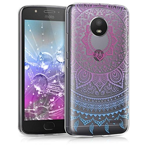 kwmobile Hülle kompatibel mit Motorola Moto E4 - Hülle Silikon transparent Indische Sonne Blau Pink Transparent