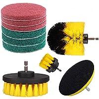 Cepillo de limpieza Swonuk 10 Piezas Brocha para taladro y Almohadillas de fregado Cepillo Limpiador Taladro para Duchas de Baños, Limpieza de Alfombras y Azulejos