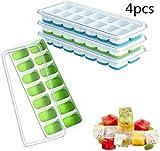 vassoio per cubetti di ghiaccio da 4 pezzi,vassoio per ghiaccio insilicone,stampoperconcoperchiodi troppopieno,cubetti,adattoperilcongelatoredellacucinadicasa(verde + blu)