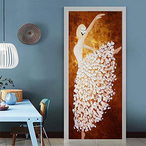 LMHWW 3D Tür Aufkleber Wandbild Mädchen Tanzt Ballett Diy Tür Tapetenaufkleber Selbstklebende Abnehmbare Tür Poster Tor Aufkleber Geeignet Für Home Küche Schlafzimmer Badezimmer 88X200CM