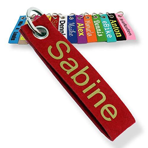 LALALO Schlüsselanhänger aus Filz mit Namen, Personalisiertes Schlüsselband Geschenkidee mit Aufschrift oder Wunschtext, Glücksbringer Filzanhänger mit Name, Geburtstag, Weihnachtsgeschenk (Rot)