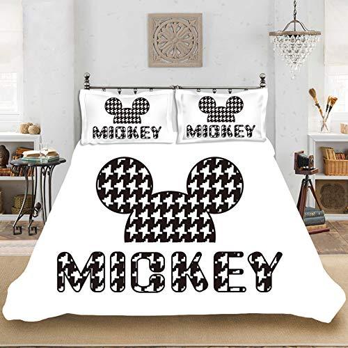 Juego de ropa de cama de 2/3 piezas, para niños y niñas, diseño de Minnie Mouse de Disney, funda de edredón y fundas de almohada, impresión digital 3D, con cremallera (200 x 200 cm)