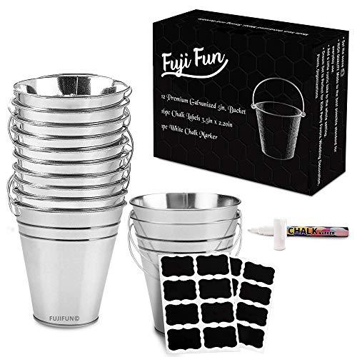 FujiFun 12pc Galvanized Metal Buckets Handle 5in x 5in 16pc Chalkboard Label 1pc White Chalk Marker
