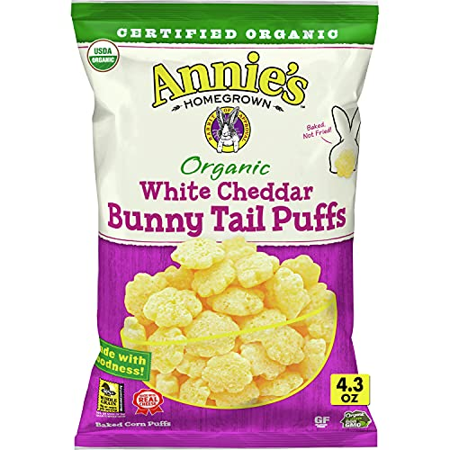 Annie's Bunny Tail White Cheddar Cheese Puffs, Certified Organic, 4.3 oz (Pack of 12)
