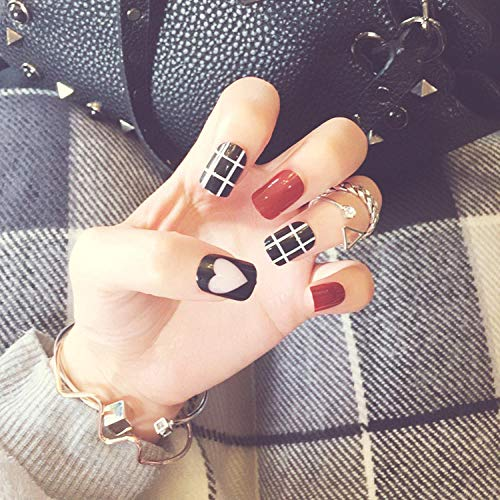 CSCH Faux ongles Wine red lattice pattern and black love pattern fake nails Japanese cute false nails lady 24pcs with glue full nail tips
