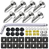 BGGTMO License Plate Screws Anti Theft - Rust Security Car Tag Screws Nuts Assortment Kit,...