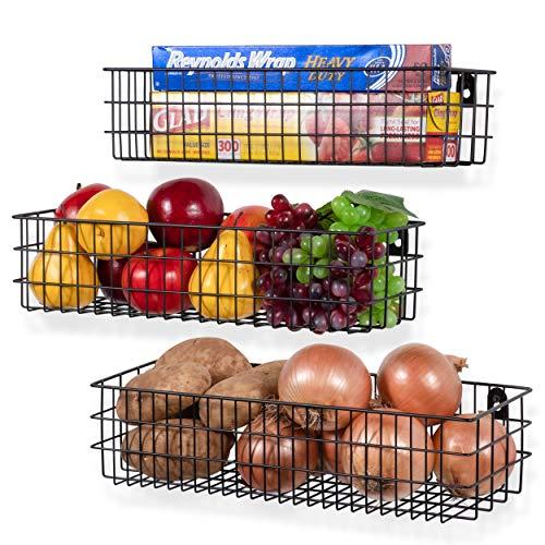 Wall35 Kansas Wall Mounted Metal Wire Baskets for Kitchen Organization and Storage Varying Sizes Hanging Fruit Basket Set of 3 Black