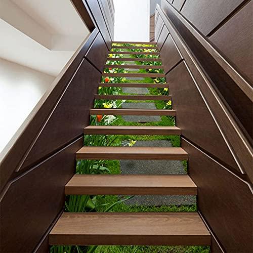 CACAIMAO Pegatinas De Escalera De Mosaico 3D, Pegatinas De Pared Decorativas para Sala De Estar Y Dormitorio, Pegatinas De Escalera Extraíbles Impermeables 13 Piezas 18cm*100cm