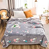 Anjos Dumbo The Flying Elephant Grey Nordic Coral Fleece Blanket Throws Bedspread Sheet Super Soft Microfiber Polyester Material Print (Queen90x98inch)