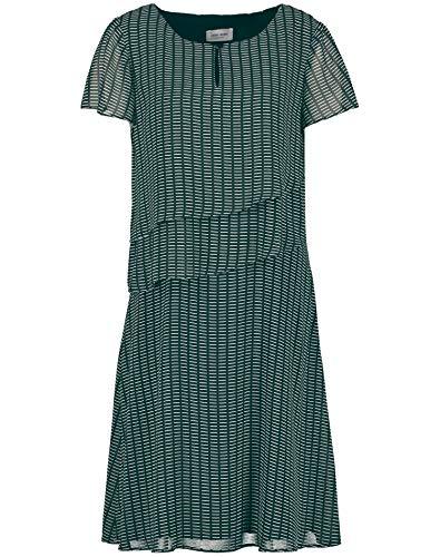 Gerry Weber Damen Kleid Mit Volants Figurumspielend deep Forest/Ecru Druck 46