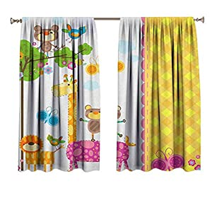 Nursery Blackout Curtains Baby Kids Design Butterflies Trees Animals Blossoms and Checkered Pattern Ornament Noise Reducing Thermal Insulated Window Drapery