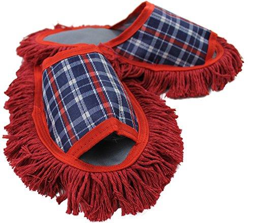 Rotfuchs Staubtuch Hausschuhe Putz-Hausschuhe Mop-Schuhe in rot mit reinigender Baumwolle-Sohle, Size 40-43 Unisex R-156
