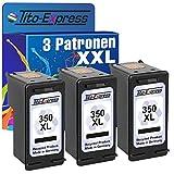 Tito-Express PlatinumSerie 3X Tinten-Patrone für HP 350 XL Black Photosmart C5240 C5250 C5270 C5275 C5280 C5290