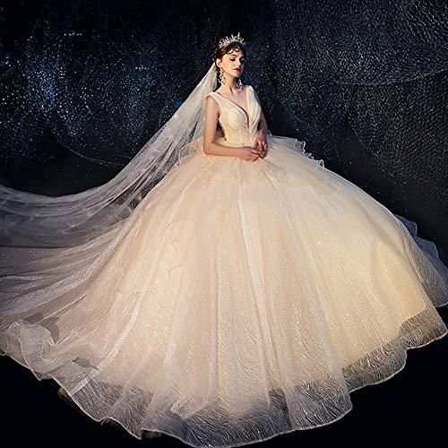 roroz Women's Starry Shining Brautkleider Hochzeitskleider Standesamt, Puffy TüLlkleider Deep V-Neck Abendkleider, Hochzeitskleider FüR Damen Lang Prinzessin,champagneA-M