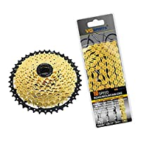 kowaku チェーン自転車パーツギア付きマウンテンバイクフリーホイールフライホイールスプロケット1セット - ゴールド10スピード, 説明したように
