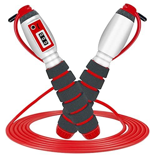 Springseil mit digital Zähler, Springseil Kinder, Speed Rope, Stahl Seil mit PVC Ummantelung, Profi Kugellager & Anti-Rutsch Griffe, ideal für Crossfit, Profi Sport (Rot)