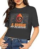 A Boogie Wit Da Hoodie Shirt Women's Sexy Exposed Navel Female T-Shirt Bare Midriff Crop Top M Black