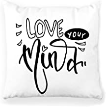 Toobaso Decorative Throw Pillow Cover Square 18x18 Inspirational Quotes Love Mind Hand Painted Brush Lettering Art Biog Calligraphy Creative Draw Expression Home Decor Zippered Pillowcase
