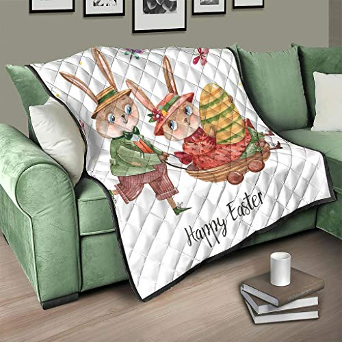 AXGM Colcha con conejos de Pascua, 200 x 230 cm