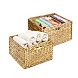 Seville Classics 2-Pack Foldable Handwoven Water Hyacinth Cube Storage Basket Bin, Rectang...