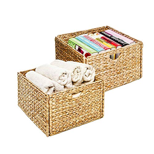 Seville Classics 2-Pack Foldable Handwoven Water Hyacinth Cube Storage Basket Bin, Rectangular