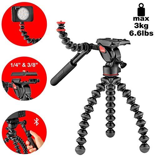 JOBY GorillaPod - Kit 3K Video Pro, Trípode Profesional Flexible con Rótula de 2 Vías para Cámaras DSLR, CSC/Sin Espejo y de Vídeo, Peso hasta 3 kg, JB01562-BWW