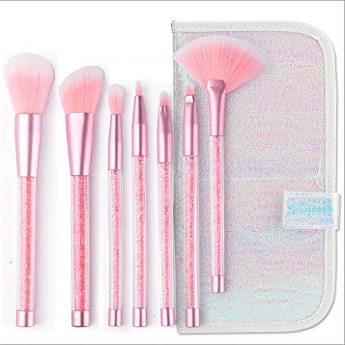 Pinceaux Maquillage Maquillage Brush Kit Synthétique Kabuki Cosmétique Outil Foundation Mélange Correcteur Blush Eyeliner Visage Poudre Crème À Lèvres Brosse À Lèvres (7 Pcs) (Couleur : Pink)