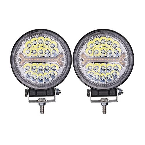 Round LED Off Road Lights 4 Inch, 2 PCS LightBoss Truck Off Roading LED Driving Light Pods 138W 12000LM 10-80V, with Amber DRL Warning Strobe Fog Light Combo Beam for Car 4x4 SUV ATV