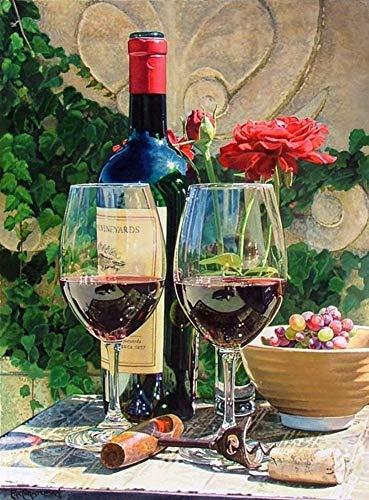 WOWDECOR DIY Malen nach Zahlen für Erwachsene Kinder Mädchen, Rotwein Weinglas Blume 40x50cm Vorgedruckt Leinwand-Ölgemälde (mit Rahmen)