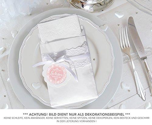 SET: 24 Sticker SCHÖN, DASS DU DA BIST ROSA im Shabby Chic Look 4 cm matt rund + 24 Flachbeutel WEIß 130 x 95 mm für Servietten Gastgeschenke Tischdeko zur Hochzeit Familienfeier Geburtstag Taufe