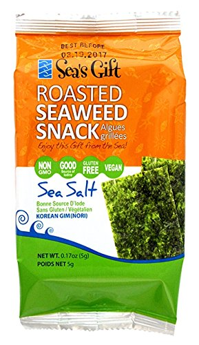 Sea's Gift Korean Seaweed Snack (Kim Nori), Roasted & Sea Salted, 0.17-Ounce Bags (Pack of 24)