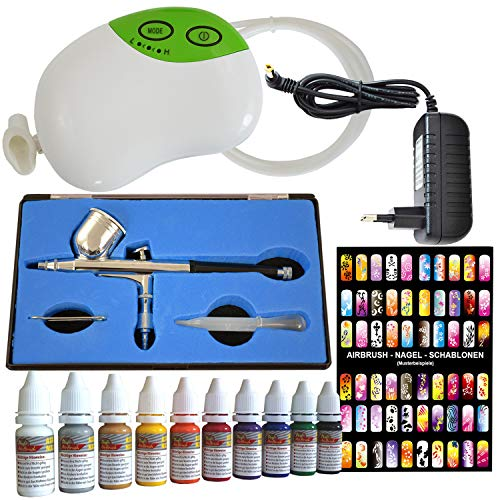 Amur Airbrush Kompressor Set Mini Carry III mit Nail Farben/Schablonen-Set und Airbrushpistole Single-Action-Gun AB-130 mit 3mm Düse/Nadel