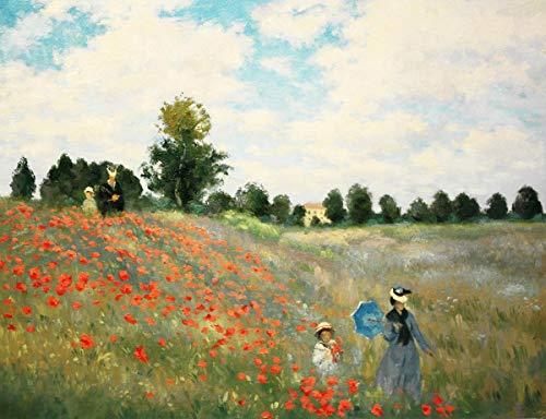 Legendarte Schilderij van Claude Monet-Poppies, Dichtbij Argenteuil-Digitale Print op Canvas-cm. 40x50, Linnen, Multi kleuren