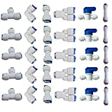 Lemoy 1/4' OD Quick Connect Push In to Connect Water Tube Fitting for RO Reverse Osmosis Water Filter Fittings Pack of 30