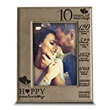 Bella Busta-10 Years of Marriage-anniversary for husband , Wife-Engraved Leather Picture Frame (5 x 7 Vertical)