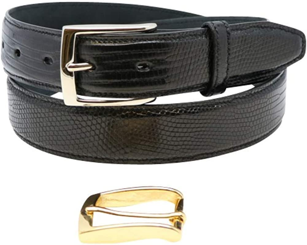 Made in the Deluxe USA - Genuine Silver Belts Choice and Lizard Gold Buckles