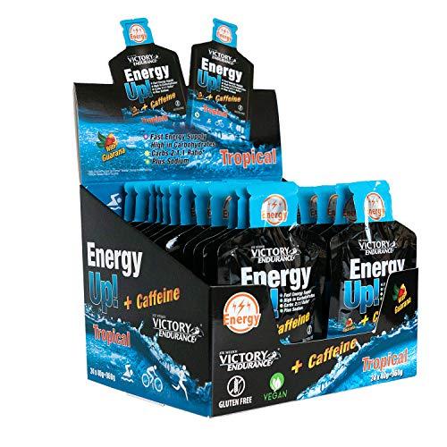 Energy Up Gel con cafeína. Con plus de sodio. Energía inmediata. 24 geles x 40g Sabor Tropical.