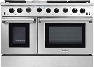 New Arrival 48 Inch Gas Range 6 Burners Cooktop 6.8 cu.ft Oven Thor Kitchen LRG4801U