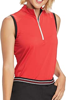 GGblue Women Sophia Sleeveless Golf Mock Scarlet/Black Large