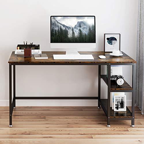 YOLEO Schreibtisch Computertisch Bürotisch 120 x 60 x 75 cm Tisch mit 2 Regalfächer für Gaming Home Office Workstation Industriestil Vintage