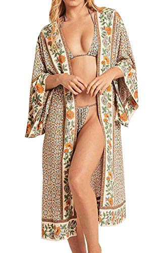 Orshoy Damen Lange Florale Kimono Cardigan - Strand Kimono Cardigan Sommer Bluse Tops Beachwear Bikini Cover up Leichte Leichte Beachwear Jacke One Size