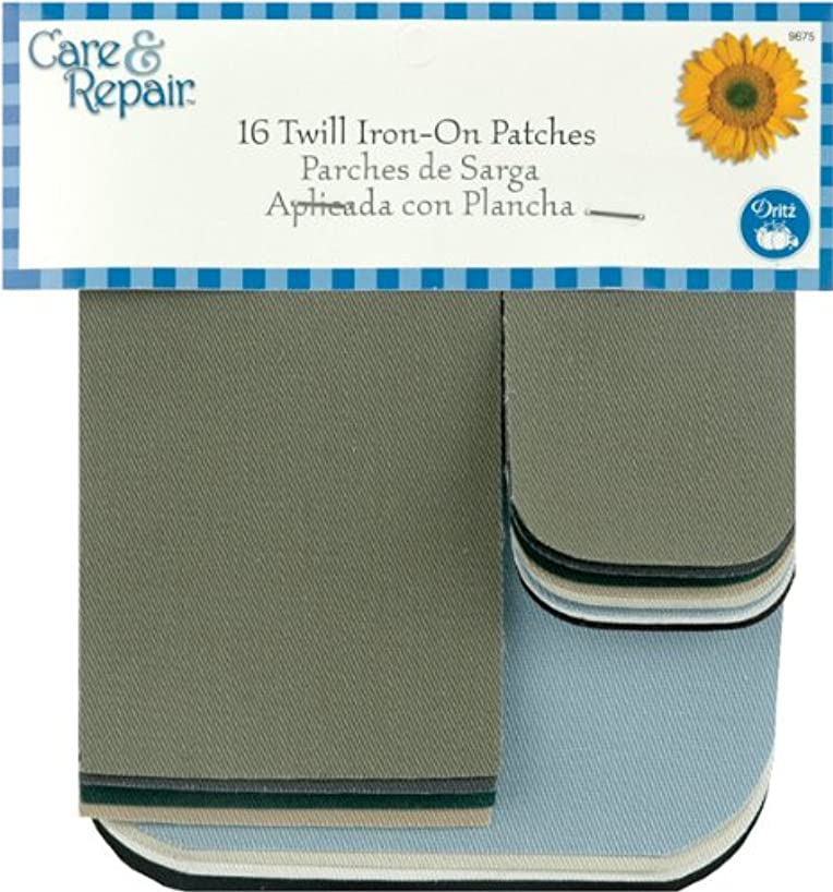 Dritz Twill Iron On Patches 16/Pkg-Assorted Colors