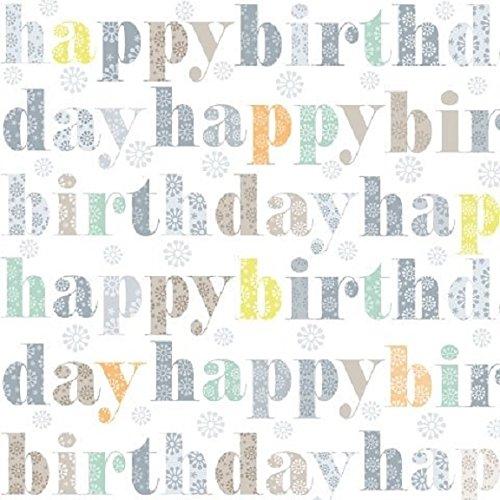 Serviette/33x33/Happy Birthday/taupe