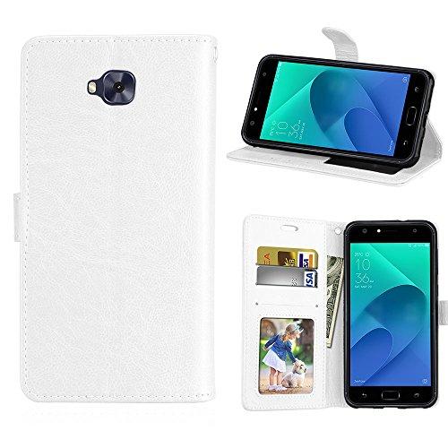 Capa para Asus Zenfone 4 Selfie ZD553KL proteção de couro PU com 3 compartimentos para cartões capa flip (Branco)